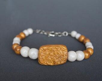 Polymer clay bracelet Golden bracelet Beaded bracelet  White bracelet  Pearly bracelet Beadwork bracelet Boho bracelet