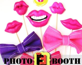 8 Photo booth props lips, mustaches, bows - party, birthdays, weddings, holiday kids baby decor decoration Photobooth