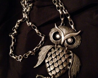 Vintage Jewelry Owl Necklace- Vintage Hinged Pewter Dancing Owl and Chain Long Necklace-Boho-Retro-Hippie