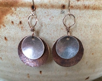 Antique Copper and Silver Disc Earrings