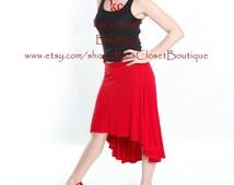 High low skirt, Casual pull-on skirt, Stretch Jersey skirt, Bamboo skirt, Beachwear coverup, MADE TO ORDER, Mullet Skirt, Washable skirt,