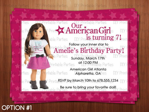 Printable DIY Pink American Girl Doll Theme Personalized Happy – Doll Party Invitations