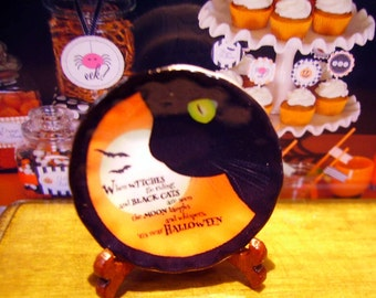 Halloween Cat Miniature Plate for Dollhouse 1:12 scale