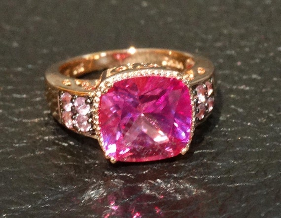 Vintage Pink Sapphire Ring Rose Gold Overlay Sterling Engagement