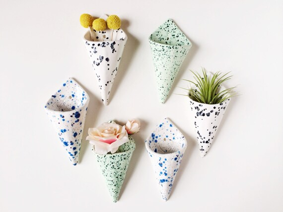 Cone Wall Planter Airplant Holder Wall Pocket Wall