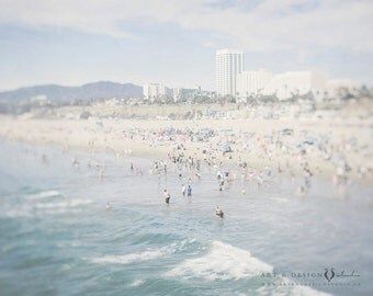 Santa Monica Beach Print, Beach Photo, Beach Decor, Beach Art, California Photography, Ocean Art, Ocean Print, Blue Wall Decor, Travel Art