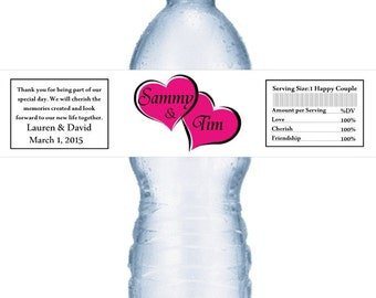 98 Pink Heart Personalized Wedding Water Bottle Labels