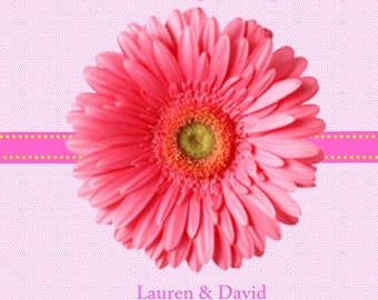 60 Pink Daisy Wedding Personalized Favor Tags
