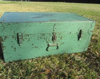 Vintage Metal Trunk, Military Foot locker, Container, mint green ,Military Trunk, ww2 trunk,foot locker,black,