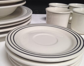 Stunning Italian Dish Set Four Place Settings Ceramica Quadrifoglio White With Black Stripe Mid Century 50s