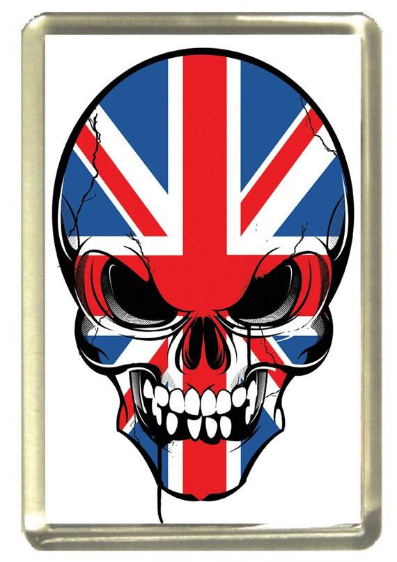 Union Jack Flag Skull Fridge Magnet 7cm by 4.5cm,