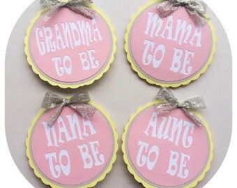 Baby Shower Buttons; Yellow, Gray, and Pink Baby Shower Decorations; Pinback Button; Mommy to be Button; Girl Baby Shower