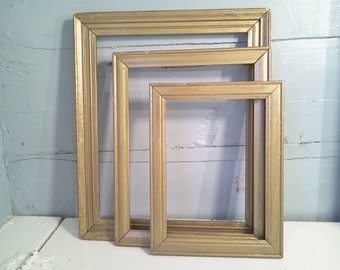 Three, Antique, Wood, Picture Frames