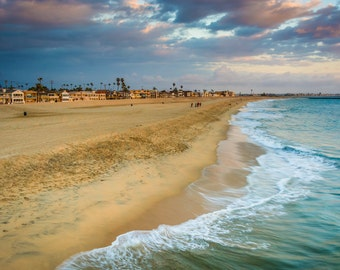 Waves in the Pacific Ocean and view of the beach at sunset, Seal Beach, California - Landscape Photography Fine Art Print or Wrapped Canvas