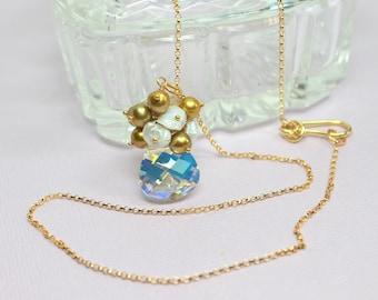 Clear Swarovski Crystal Pendant, Freshwater Pearl Cluster, 14k Gold Filled, Large Swarovski Crystal Necklace