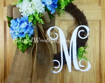 spring Wreath - Personalized wreath - summer wreath - grapevine wreath - easter wreath - mothers day - housewarming