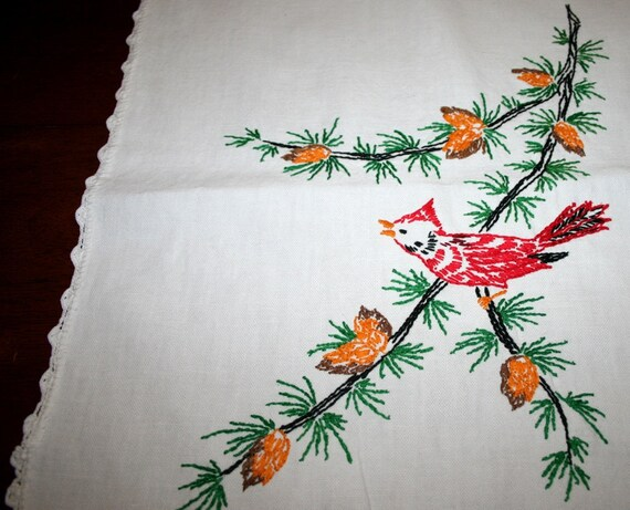 vintage cardinal embroidered table runner bureau scarf