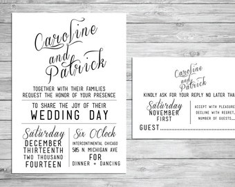 Printable Wedding Invitation and Response Card - Modern script, kraft bride