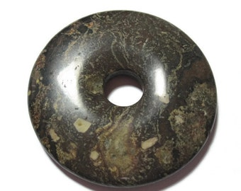 Picture Jasper Brown Gemstone 50mm Donut Ring Focal Bead