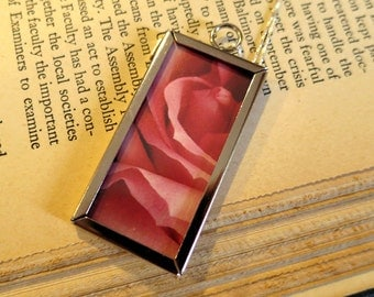 Poetry and Rose Petals Double-Sided Pendant