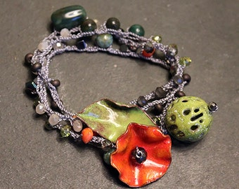 "Orange ""Poppy"" 3x Wrap Bracelet/Necklace"