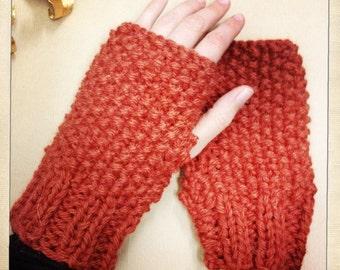 Mitaines tricotées main en alpaga et laine