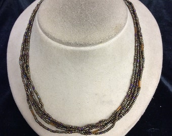 Vintage Multi Stranded Irridesent Brown Beaded Necklace