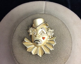 Vintage Signed AJC Red Clown Pin