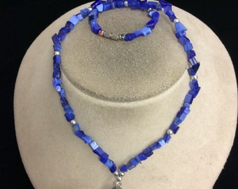 Vintage Shades Of Blue Glass Pendant Necklace