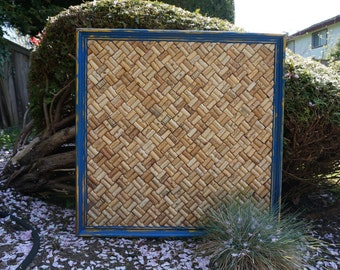 Recycled Wine Cork Board in Distressed Blue and Gold Vintage Frame