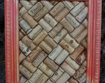 Recycled Wine Cork Board in Distressed Frame