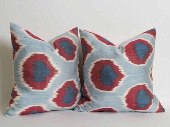 Burgundy Navy Blue Silk Ikat Pillow Cover Modern Boho Decor