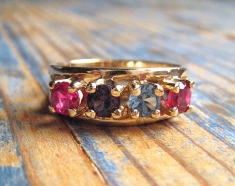 Ring Multi Stone Gold Band | Mothers Ring | Family Ring | Size 8.25