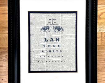 Lawyer Attorney Eye Chart Gift - Lawyers Always Read The Fine Print - A unique gift for a lawyer, attorney, or Law School Graduate