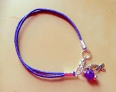 Purple or Lavender Awareness Ribbon Cotton Bracelet-Charm-Friendship-Alzheimer's-Cancers-Child Abuse-ADHD-Rett-Cystic Fibrosis-Epilepsy