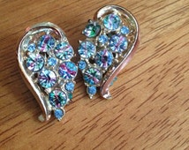 Lovely Rainbow Rhinestone Clip on Earrings