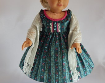 "Rose Buds and Teal Dress for 18"" Girl Doll with evening shawl, sleeveless party dress, scarf, holiday evening wrap, American made"