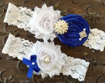 Blue Garter Wedding, Wedding Garter Set, Royal Blue Garter Set, Blue Garter Set, Something Blue Garter Set, White Lace Garter, Garter Set
