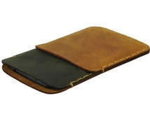 Dual-colored Green and Light Brown Nokia Lumia Case. Cover Fits Nokia Lumia 925, 928, 930, 1020, or Icon. Hand Sewn Genuine Leather Sleeve.