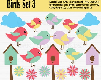 Birds Clipart For Personal and Commercial Use - Digital Clip Art  - Instant Download, bird clipart, birds house