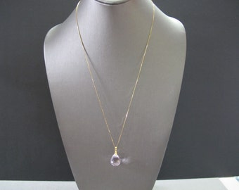Pink Topaz Solid Gold Necklace