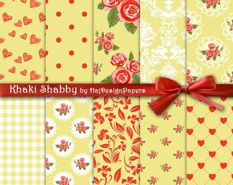 """Khaki digital paper : """"Khaki Shabby"""" floral digital paper for scrapbooking, invites, cards, yellow digital paper with roses, decoupage paper"""