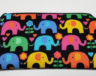 Zipper Pouch, Cosmetic Bag, Pencil Case, Elephants,  Medication Bag, Gadget Bag, Nylon Lining, Zipper Closure