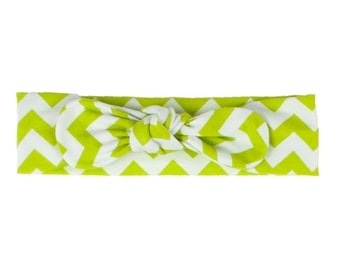 Baby Headband, Toddler Headband, Adult Headband, Baby Girl Headband, Top Knot Headband, Bow Headband, Lime Green and White Chevron Headband