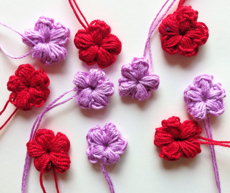 Flores de crochet flores de ganchillo apliques de ganchillo - Hacer flores de ganchillo ...