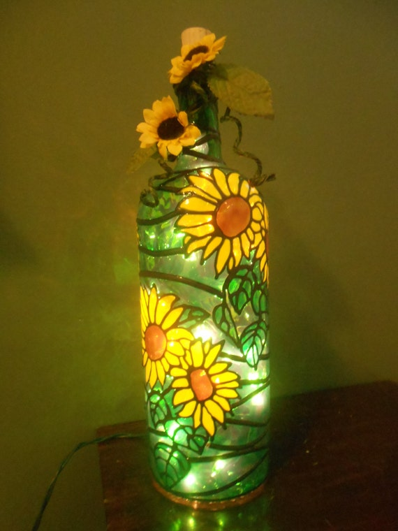 Lighted handpainted wine bottle sun flower inspired stained for Painting flowers on wine bottles