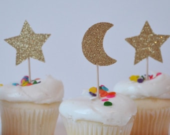 Stars/moon cupcake toppers