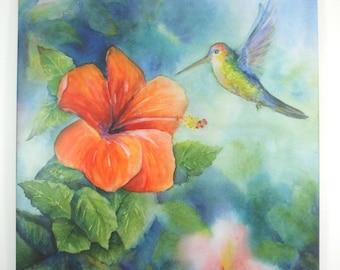 Hummingbird / Orchid Art Tile Hangable Wall Art Original Watercolor Floral Art