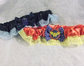 Nerd Girl Wonder Woman or Doctor Who Lace and Satin Garter