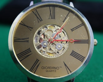 Vintage Ladies Giordano Large Face Gold Watch - Japan Movement